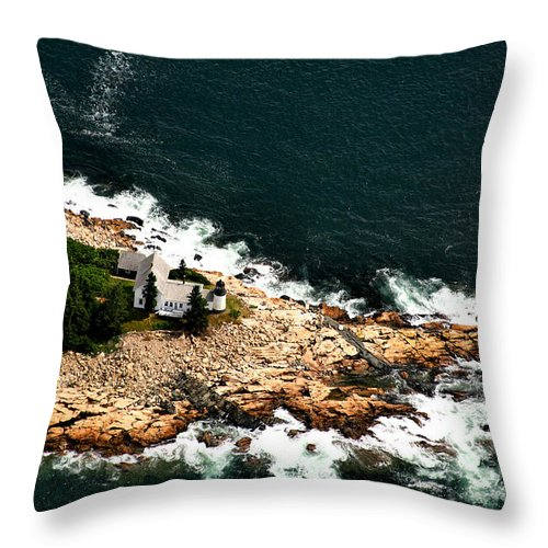 Lighthouse Throw Pillow featuring the photograph Maine Lighthouse by Patricia Betts