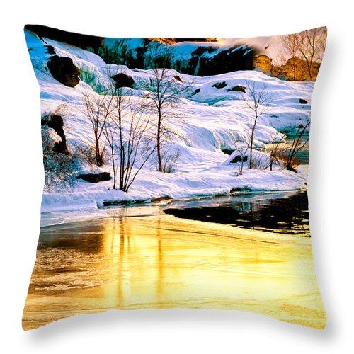 Androscoggin River Throw Pillow featuring the photograph Maine Winter Along The Androscoggin River by Bob Orsillo