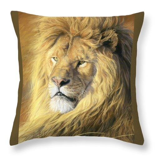 Lion Throw Pillow featuring the painting Majestic - Detail by Lucie Bilodeau
