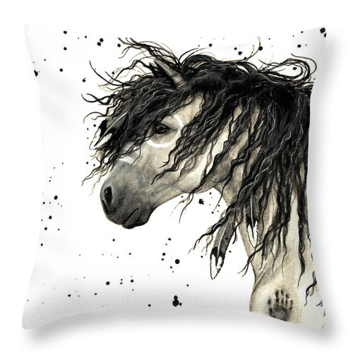 Mustang Horse Art Throw Pillow featuring the painting Majestic Grey Spirit Horse #44 by AmyLyn Bihrle
