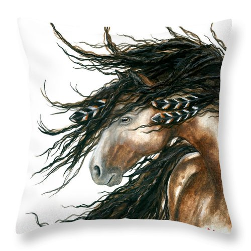 Horse Throw Pillow featuring the painting Majestic Pinto Horse 80 by AmyLyn Bihrle