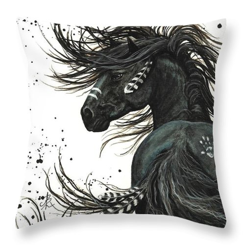 Mm65 Throw Pillow featuring the painting Majestic Spirit Horse by AmyLyn Bihrle