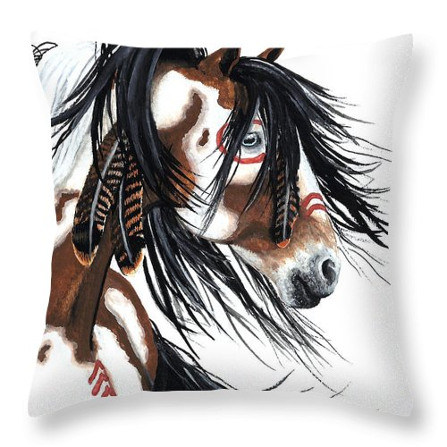 Horse Artwork Throw Pillow featuring the painting Majestic Pinto horse by AmyLyn Bihrle