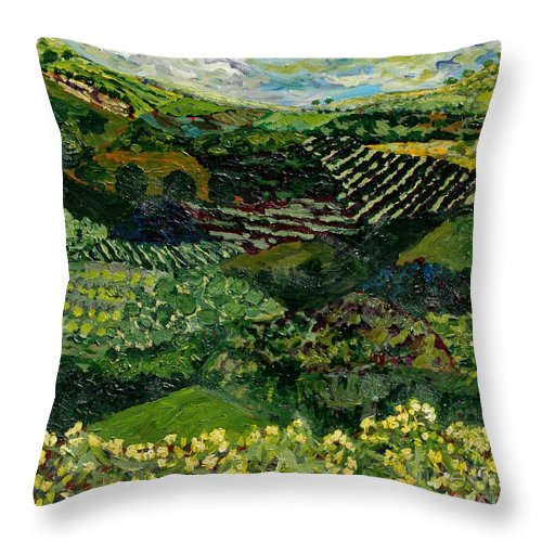 Landscape Throw Pillow featuring the painting Majestic Valley by Allan P Friedlander