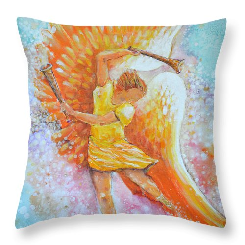 Angel Throw Pillow featuring the painting Make Your Soul Shine by Ashleigh Dyan Bayer