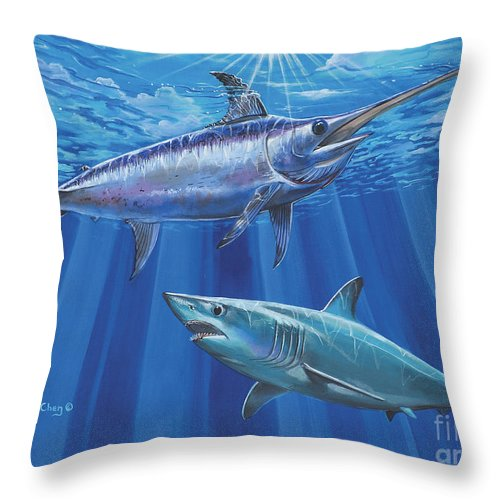 Swordfish Throw Pillow featuring the painting Mako Sword Off0024 by Carey Chen