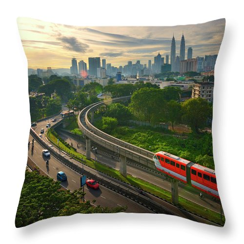 Train Throw Pillow featuring the photograph Malaysia - Kuala Lumpur City by By Toonman