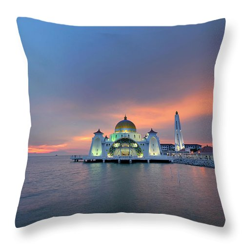 Mosque Throw Pillow featuring the photograph Malaysia - The Straits Mosque, Malacca by By Toonman