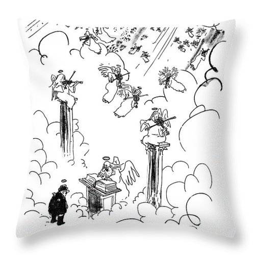 St. Peter To Man Entering Heaven Throw Pillow featuring the drawing Malcolm W. Dunlap by George Booth