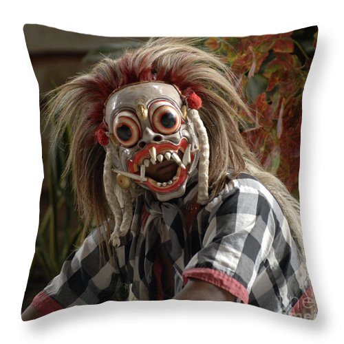 Bali Throw Pillow featuring the photograph Male Berong Dancer by Bob Christopher