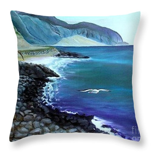 Malibu Beach Throw Pillow featuring the painting Malibu Beach by Lora Duguay