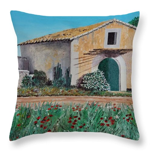 Mallorca Throw Pillow featuring the painting Country House by Manfred Lutzius