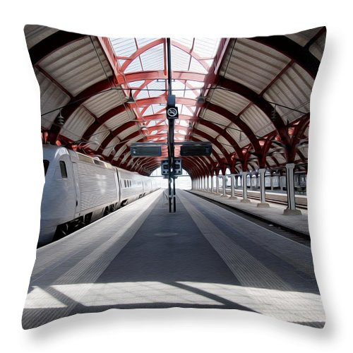 Malmo Throw Pillow featuring the photograph Malmo Central Station by Tracy Winter