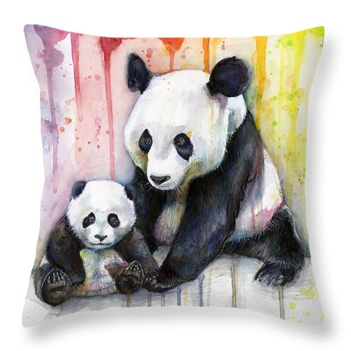 Watercolor Throw Pillow featuring the painting Panda Watercolor Mom And Baby by Olga Shvartsur