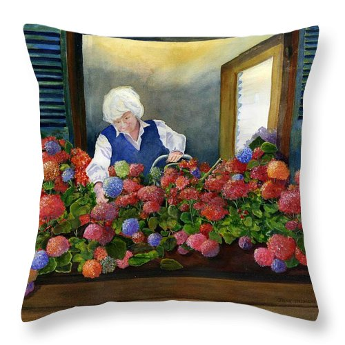 Window Throw Pillow featuring the painting Mama's Window Garden by Jane Ricker