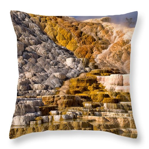 Yellowstone Throw Pillow featuring the photograph Mammoth Hot Spring by Steve Stuller
