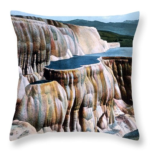Mammoth Hot Springs Throw Pillow featuring the photograph Mammoth Hot Springs Yellowstone Np by NPS Photo Frank J Haynes