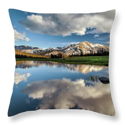 Scenics Throw Pillow featuring the photograph Mammoth Peak Reflection by Tom Grubbe
