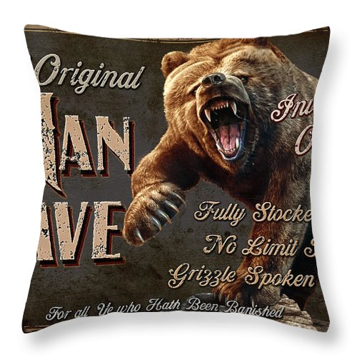 Jeff Wack Throw Pillow featuring the painting Man Cave Grizzly by JQ Licensing