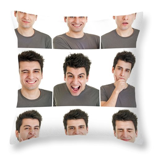 Man Throw Pillow featuring the photograph Man Face Expressions by Luis Alvarenga