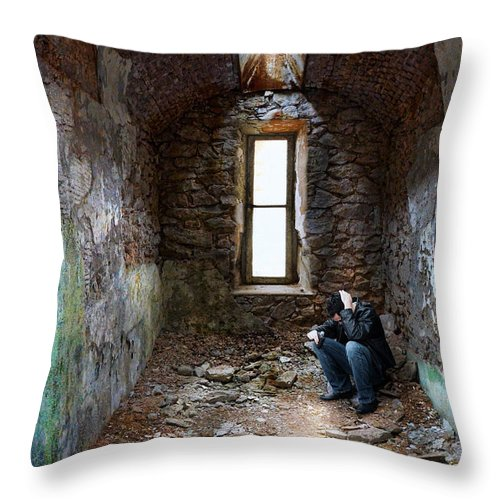 Man Throw Pillow featuring the photograph Man In Abandoned Building by Jill Battaglia