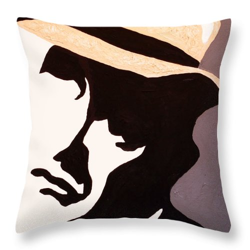 Man Throw Pillow featuring the painting Man In Hat by Andrew Petras