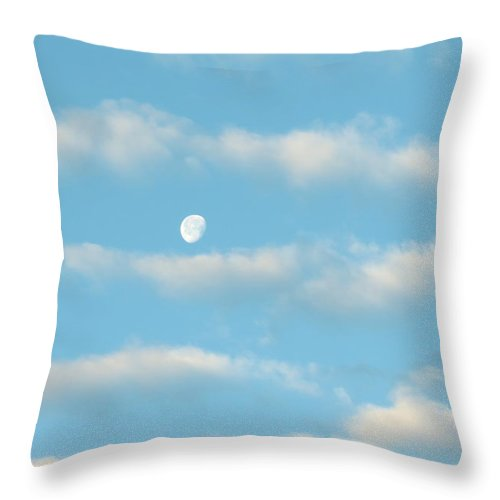 Space Throw Pillow featuring the photograph Man In The Moon In The Clouds by Fortunate Findings Shirley Dickerson