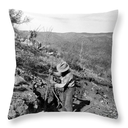 Mine Throw Pillow featuring the photograph Man Mining Ore by Larry Ward
