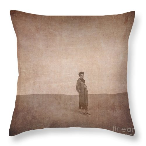 Vintage Throw Pillow featuring the digital art Man On A Dune by Patricia Hofmeester