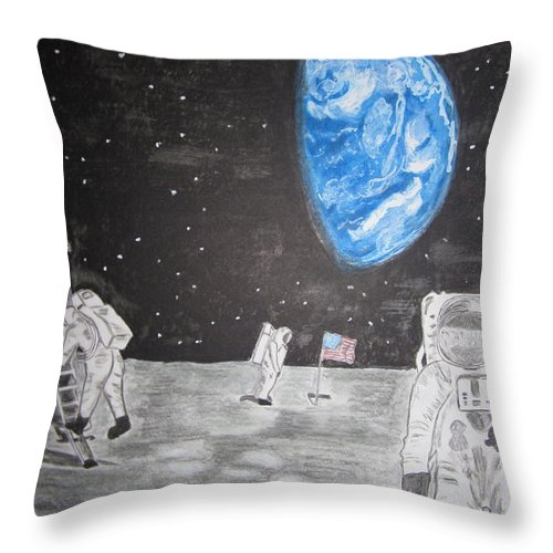 Stars Throw Pillow featuring the painting Man On The Moon by Kathy Marrs Chandler