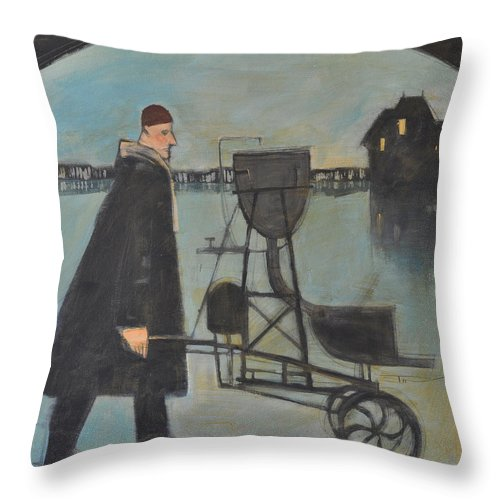 Man Throw Pillow featuring the painting Man Walking Machine On Beach by Tim Nyberg