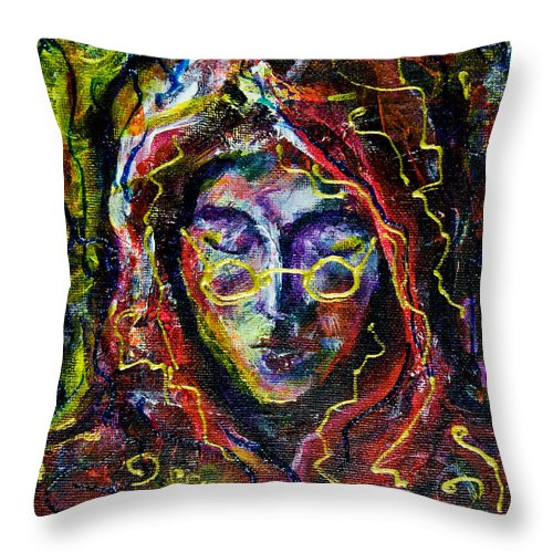 Portrait Throw Pillow featuring the painting Man With A Hood by Maxim Komissarchik