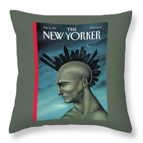 Mohawk Throw Pillow featuring the painting Mohawk Manhattan by Anita Kunz