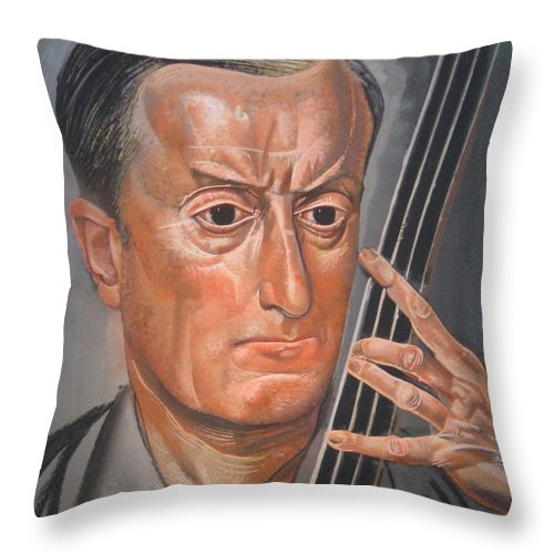 Russia Throw Pillow featuring the painting Man With Cello by Celestial Images