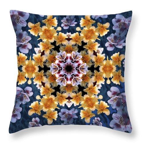 Mandala Throw Pillow featuring the digital art Mandala Alstro by Nancy Griswold