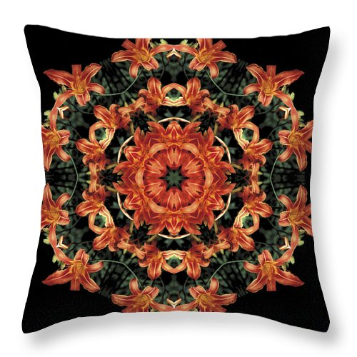 Mandala Throw Pillow featuring the photograph Mandala Daylily by Nancy Griswold