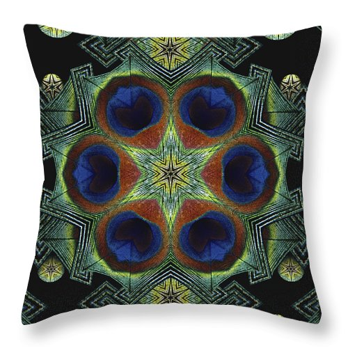 Mandala Throw Pillow featuring the digital art Mandala Peacock by Nancy Griswold