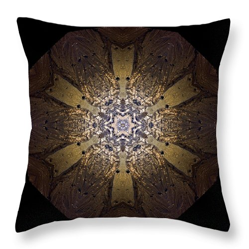 Mandala Throw Pillow featuring the photograph Mandala Sand Dollar At Wells by Nancy Griswold