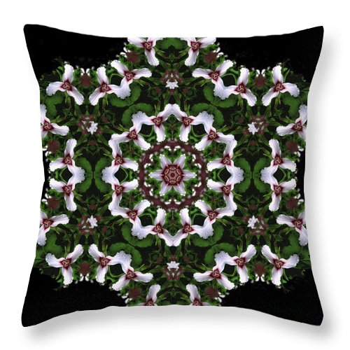 Mandala Throw Pillow featuring the digital art Mandala Trillium Holiday by Nancy Griswold