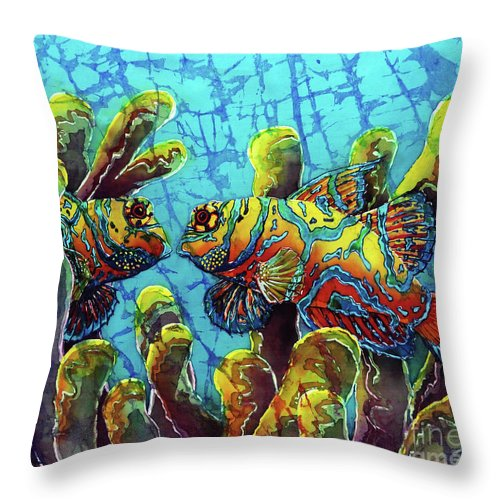 Mandarinfish Throw Pillow featuring the painting Mandarinfish by Sue Duda