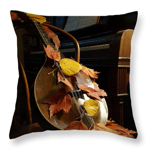 Mandolin Throw Pillow featuring the photograph Mandolin Autumn 2 by Mick Anderson