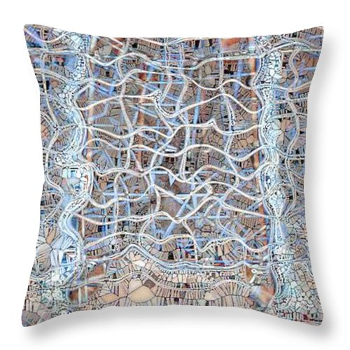 Abstract Throw Pillow featuring the digital art Mangled Wire by Ron Bissett