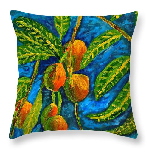 Mangoes Throw Pillow featuring the painting Mangoes Delight by Laura Forde