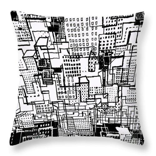 Manhattan Design Throw Pillow featuring the drawing Manhattan 2 by Andy Mercer
