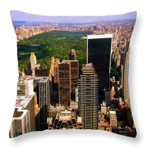 Manhattan Prints Throw Pillow featuring the photograph Manhattan And Central Park by Monique's Fine Art