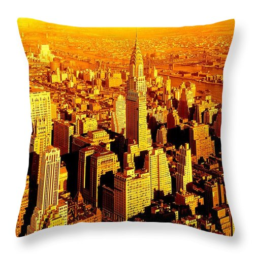 Fine Art America Throw Pillow featuring the photograph Manhattan And Chrysler Building by Monique's Fine Art