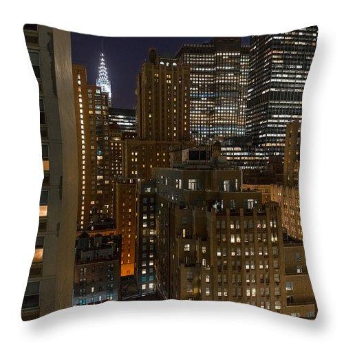 Manhattan Throw Pillow featuring the photograph Manhattan Night by Alyaksandr Stzhalkouski