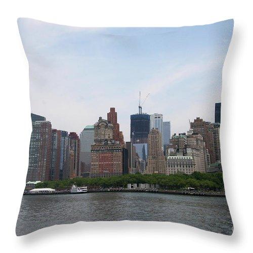 Manhattan Throw Pillow featuring the photograph Manhattan Skyline by Christiane Schulze Art And Photography