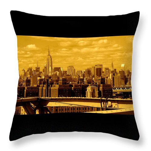 Manhattan Ny Prints Throw Pillow featuring the photograph Manhattan Skyline by Monique's Fine Art