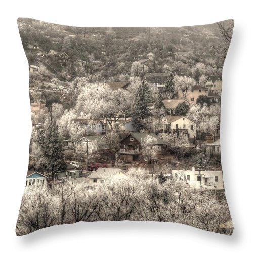 Snow Scene Throw Pillow featuring the photograph Manitou To The South In Snow Close Up by Lanita Williams